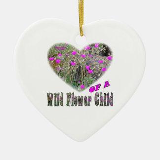 Heart of a Wild Flower Child Ceramic Ornament
