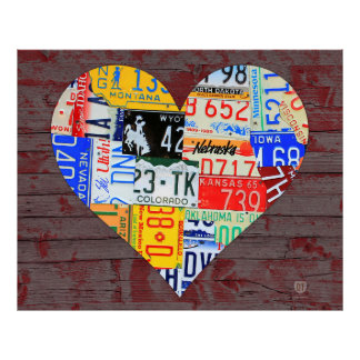 Heart of America Recycled License Plate Art Poster