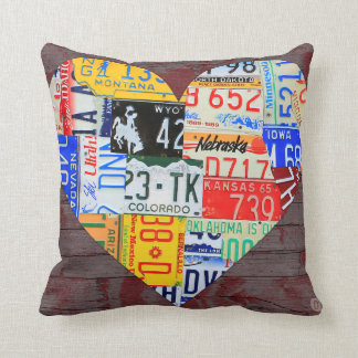 Heart of America Recycled License Plate Art Throw Pillow
