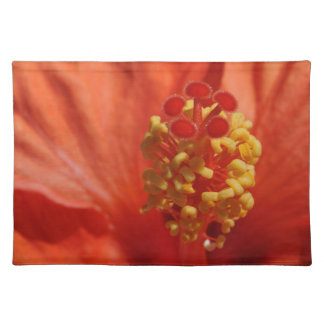Heart of An Orange Hibiscus Flower Placemats