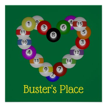 Art Themed Heart of Billiards Love Pool Poster