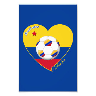Heart of COLOMBIA SOCCER and national flag 2014 Photo Art