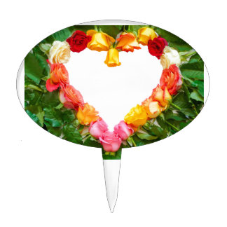 Heart of colorful roses cake topper
