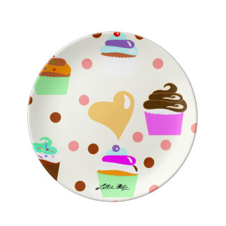 Heart of Cupcakes Yellow Porcelain Plates