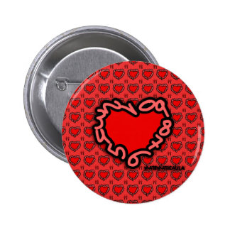 Heart of enamored numbers for pinback button