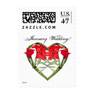Heart of Floral Flower January Wedding Postage