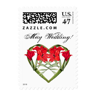 Heart of Floral Flower May Wedding Postage