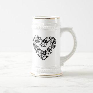 Heart of Flowers 18 Oz Beer Stein