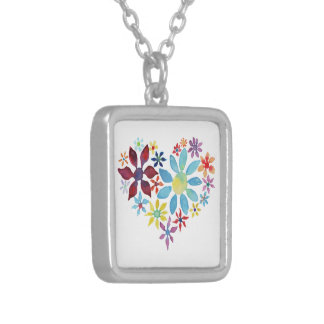 Heart of Flowers Silver Plated Necklace
