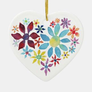 Heart of Flowers (Single Sided - Blank Back) Ceramic Ornament