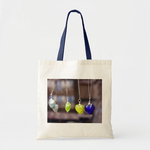 Heart of glass tote bags