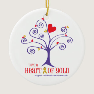 Heart of Gold for childhood cancer Ceramic Ornament
