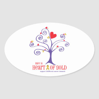 Heart of Gold for childhood cancer Oval Sticker