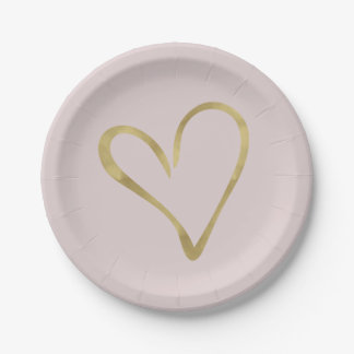 Heart of Gold Paper Plate