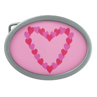 Heart of Hearts in Red and Pink Belt Buckles
