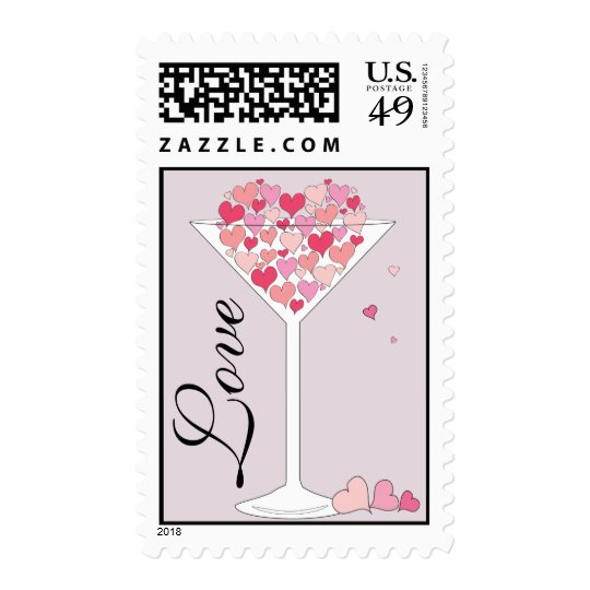 Heart of Hearts Love in a Martini Glass Postage