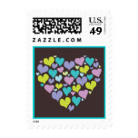 Heart of Hearts Love Postage in Teal