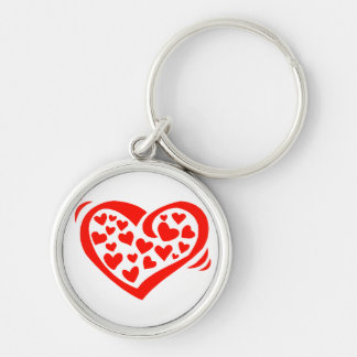 heart of hearts red Silver-Colored round keychain