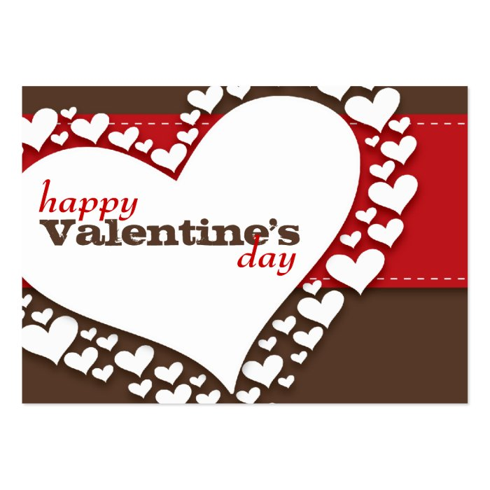 Heart of Hearts School Valentines (Brn/Red) Large Business Card