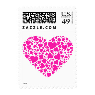 Heart of Hearts - Shocking Pink Postage Stamps