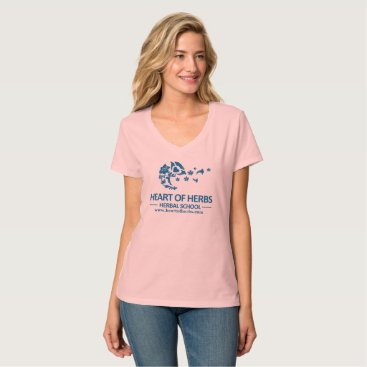 Valentines Themed Heart of Herbs Herbal School V-Neck T-Shirt