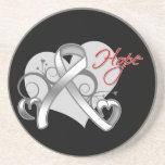 Heart of Hope - Mesothelioma Awareness Beverage Coaster