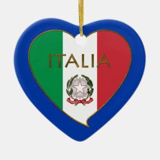 Heart of ITALY flag tricolor ITALY SOUVENIR Ceramic Ornament