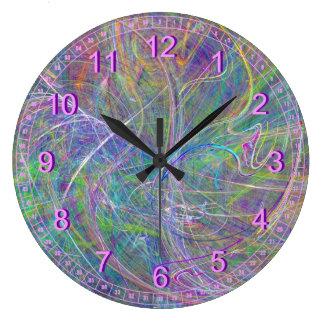 Heart of Light, Abstract Aqua Flames Indigo Swirls Clock
