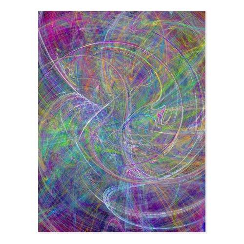 Heart of Light – Aqua Flames Indigo Abstract Postcard