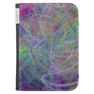Heart of Light – Aqua Flames & Indigo Swirls Kindle Folio Case