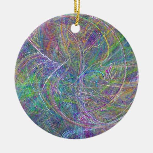 Heart of Light – Aqua Flames & Indigo Swirls Ceramic Ornament