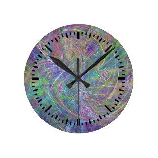 Heart of Light – Aqua Flames & Indigo Swirls Round Wall Clock