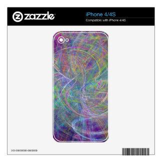 Heart of Light – Aqua Flames & Indigo Swirls Decal For The iPhone 4