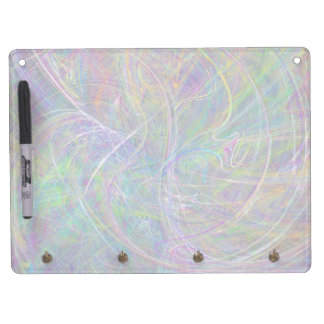 Heart of Light – Aqua Flames & Indigo Swirls Dry Erase Board With Keychain Holder