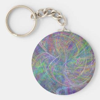 Heart of Light – Aqua Flames & Indigo Swirls Keychain