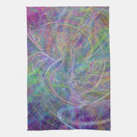 Heart of Light – Aqua Flames & Indigo Swirls Kitchen Towel