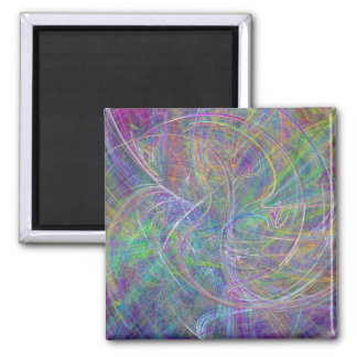 Heart of Light – Aqua Flames & Indigo Swirls 2 Inch Square Magnet