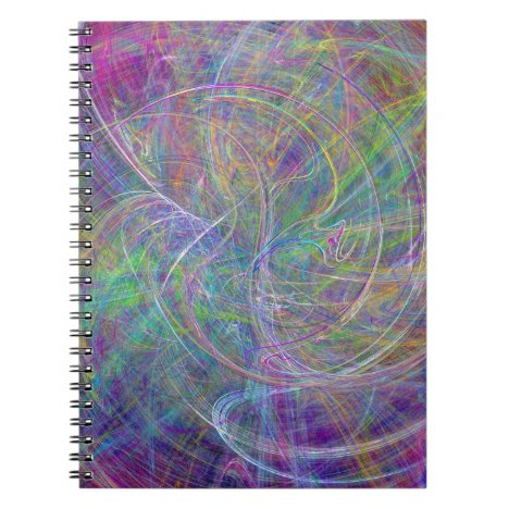 Heart of Light – Aqua Flames & Indigo Swirls Notebook