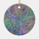 Heart of Light – Aqua Flames & Indigo Swirls Christmas Tree Ornaments