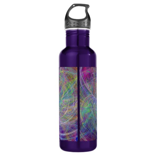 Heart of Light – Aqua Flames & Indigo Swirls Stainless Steel Water Bottle