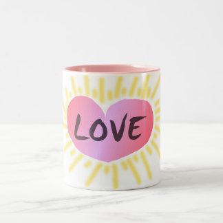 Heart of love coffee cup Two-Tone coffee mug