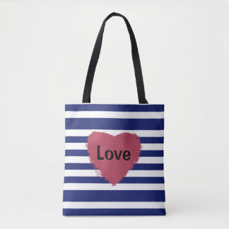 Heart Of Love on Stripes, All Over Print Tote Bag