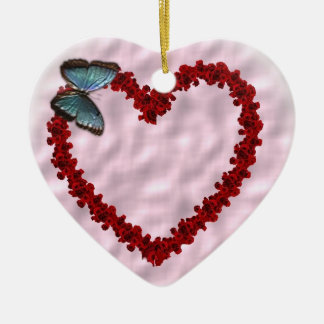 Heart of love Double-Sided heart ceramic christmas ornament