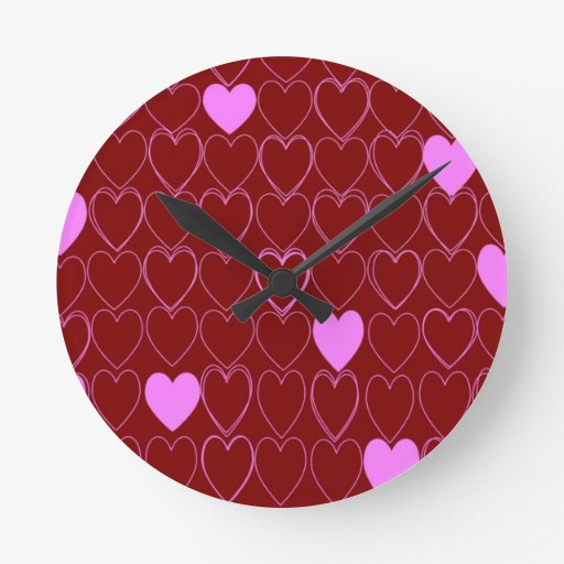 Heart of Love Pattern Round Clock
