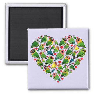 Heart of Lovebirds 2 Inch Square Magnet