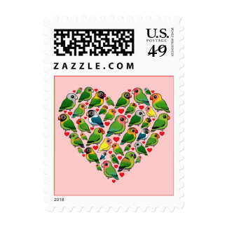 Heart of Lovebirds Postage Stamps