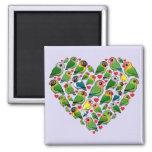 Heart of Lovebirds Refrigerator Magnets
