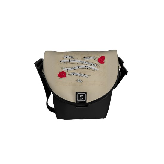 Heart of Music with Roses Mini Messenger Bag