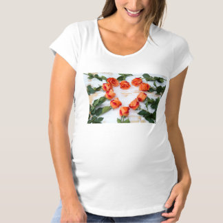 heart OF of roses on wood Maternity T-Shirt