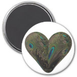 heart of peacock feathers 3 inch round magnet